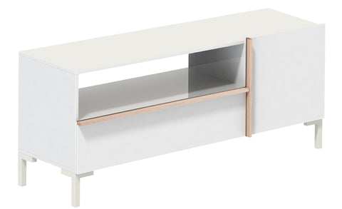 Beijing - Lowboard with 1 Drawer, 1 Door and 1 open Field, white with handles in oak sonoma wood structure - Designs By Phoenix - Furniture - 1