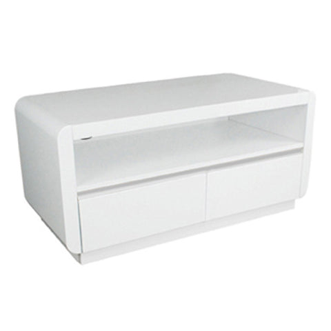 Prana - Lowboard with 2 Drawers and 1 Floor, white highgloss finish