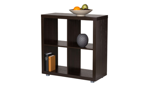 Caro - 2x2 Room Divider or Bookshelf, walnut veneer color