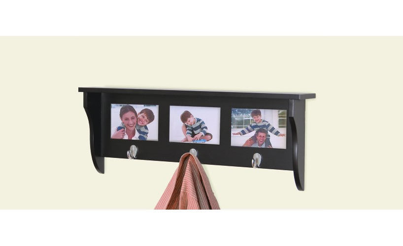 Country - wallshelf with hooks, coat rack with hooks and picture ...