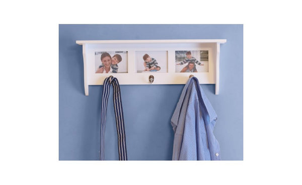 Country Wall Shelf Coat Rack With Hooks Picture Frame With 3