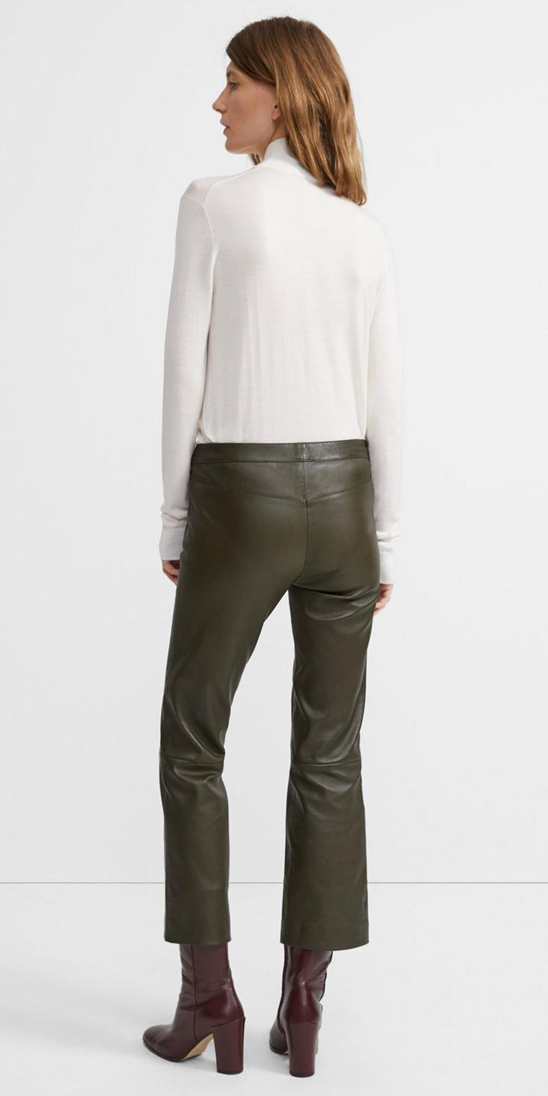 THEORY CROP LEATHER PANTS IN SLATE GREEN