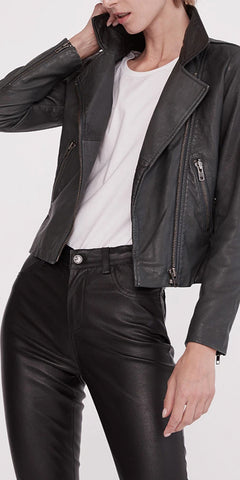 WEST 14TH NEW YORKER MOTOR JACKET IN BLACK LEATHER