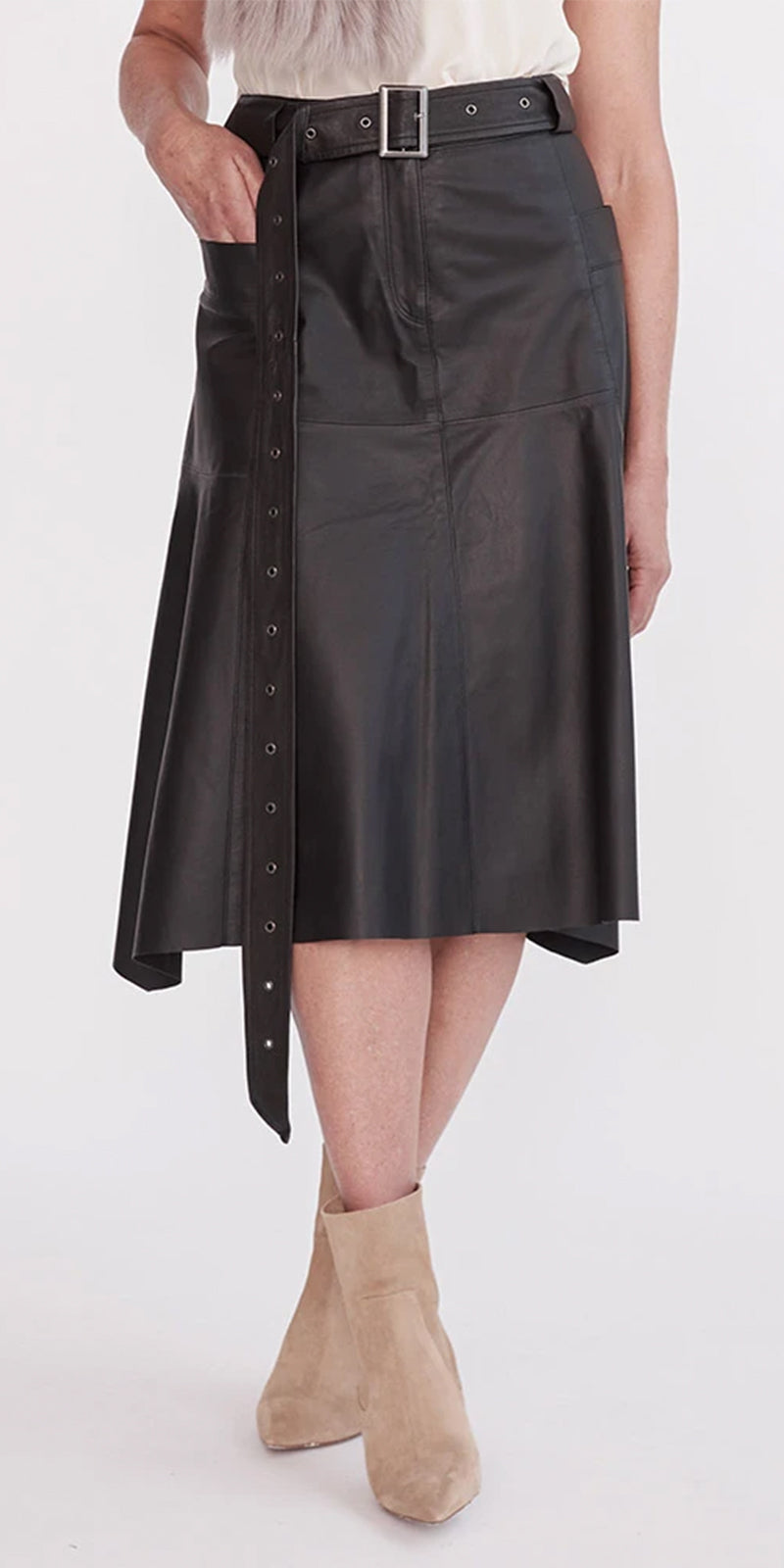 WEST 14TH HUDSON HIGH-RISE SKIRT IN BLACK LEATHER