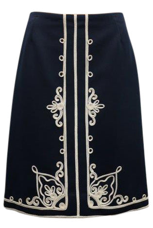 Navy A line skirt with embroidery