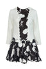 1960'S B/W Floral Belted Dress
