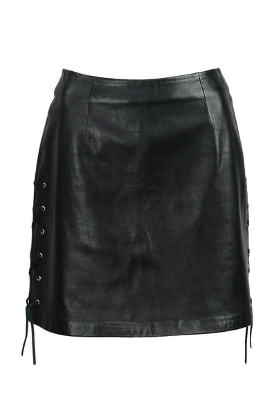 Leather Lace Up Skirt