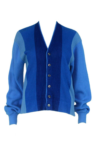 Blue Colorblock Cardigan
