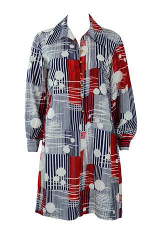 1960's Red and Navy Shirt Dress