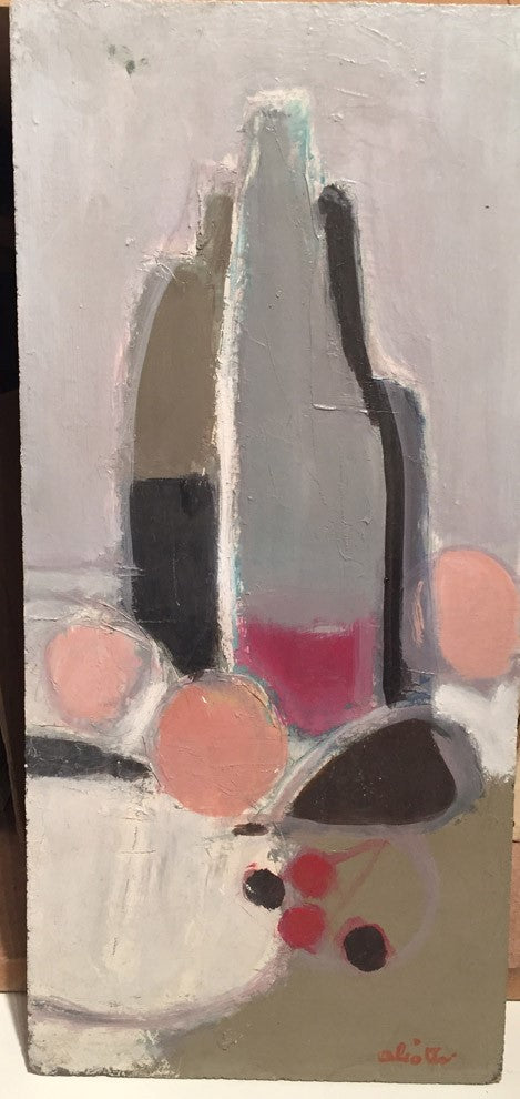 Composition by Claude Aliotti Oil painting on panel – 47x22cm