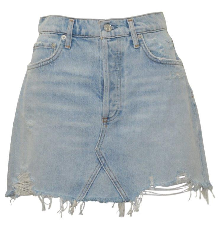Denim cutoff skirt by Agolde
