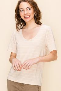 Beige and White Stripe T