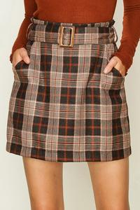 Plaid Belted Skirt