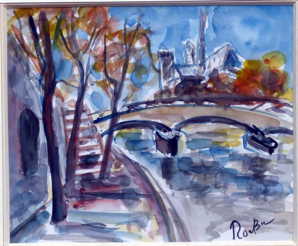 La Seine à Paris by Roland Dubuc Watercolor on paper – 22x27cm