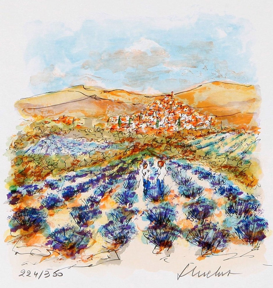 Le village de Provence by Urbain Huchet Lithograph on paper – 30x30cm