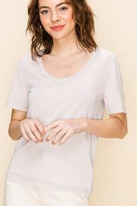Dove Grey Scoop Neck T