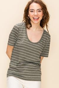 Olive and White Stripe T