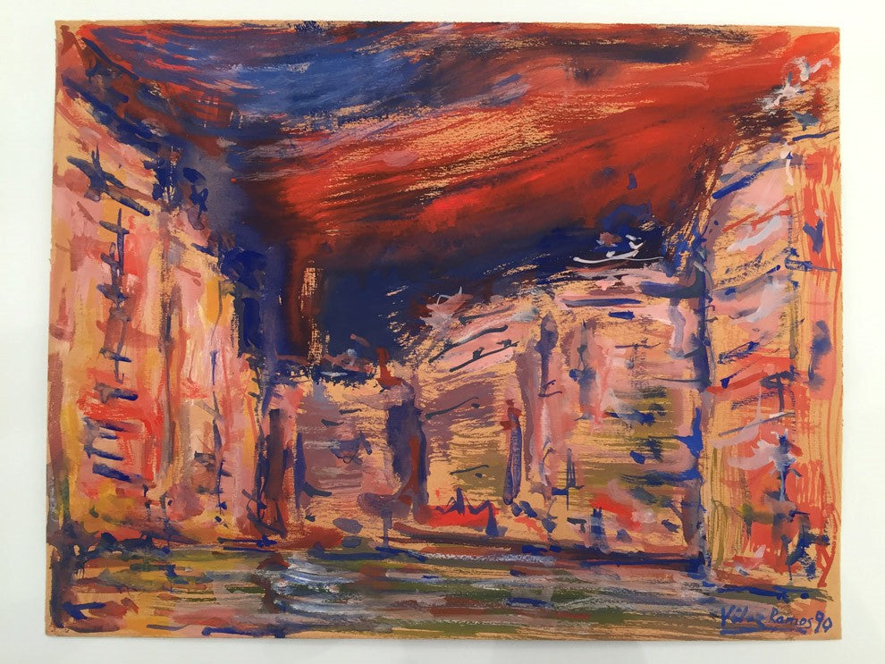 The city by Velez Ramos Gouache painting on paper – 25x32cm – date : 1990