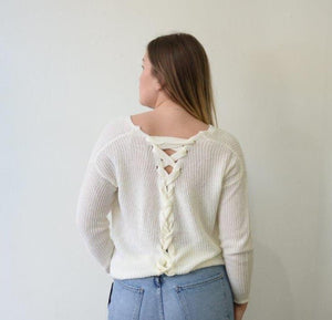 Cream knit sweater by Frnch