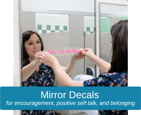 Mirror decals, Slef love, positive affirmations, mental health mirror stickers