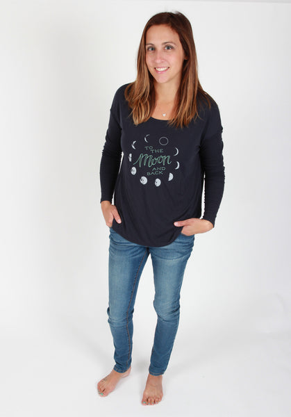 To the Moon and Back Womens Slouchy Long Sleeve Shirt