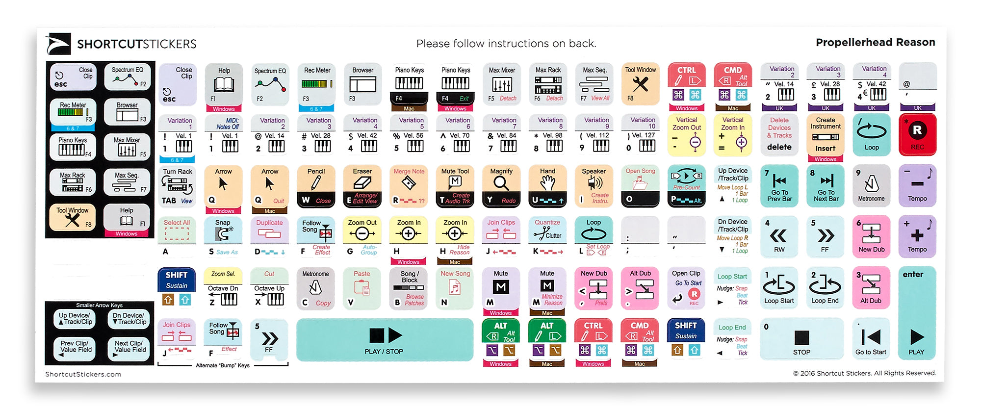 The Best Logic Pro Shortcut Stickers WHITE ADVANCED Ever.