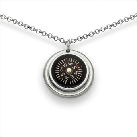 "Compass Necklace well set in sterling silver. 14mm compass on 24"" or 30"" chain."
