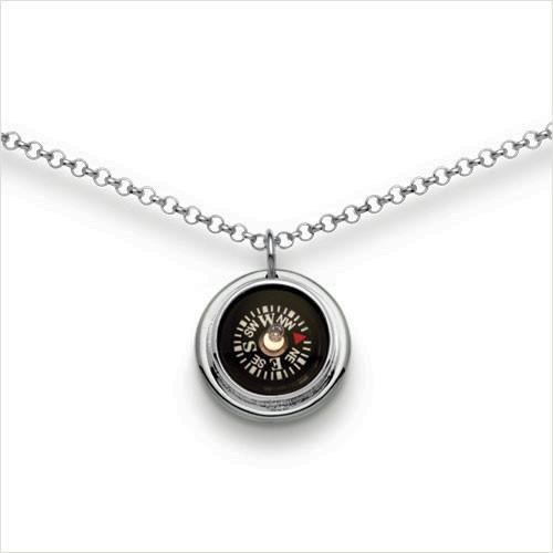 Compass Necklace, 12mm compass set in glossy sterling silver setting.