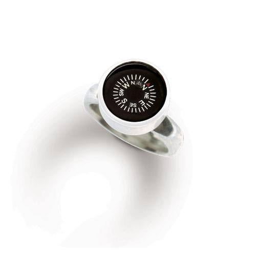 Compass ring, sterling silver set into a 12mm bezel.