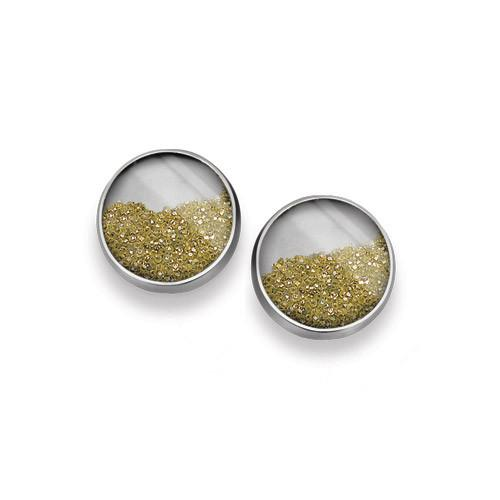Diamond dust earrings, 12mm post. Diamonds float loosely behind a mineral quartz crystal.