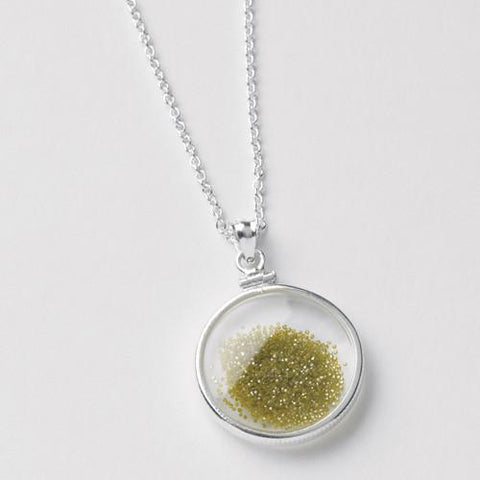 Diamond Dust necklace, green, with double glass in sterling silver mounting.