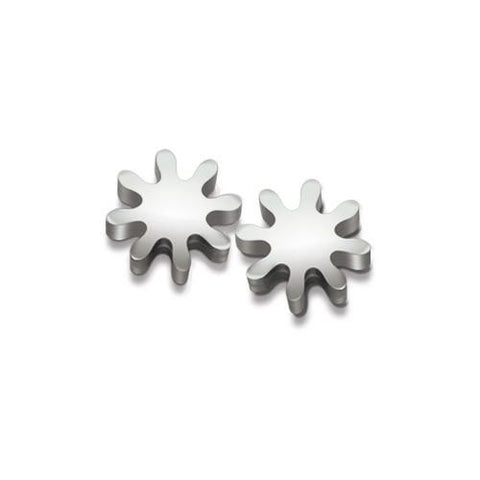 Gear post earrings- cross-section of a small gear made into sterling silver earrings.