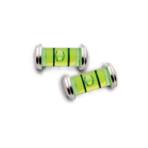 Level earrings in sterling silver on a post. Bright green tubular levels.