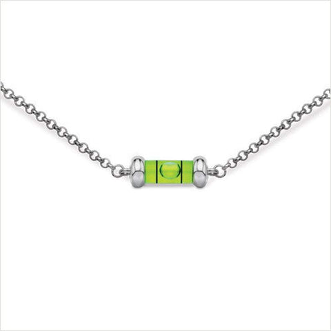 "Level necklace- small.  Bright green level and sterling silver. 16"" or 18"" chain."