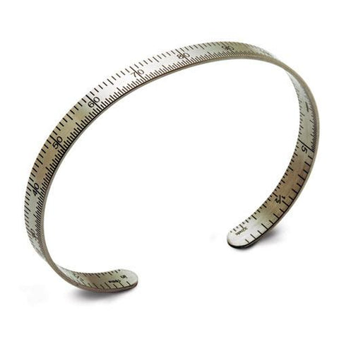 "Ruler bracelet, metric, stainless steel, 1/4"" wide."