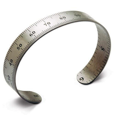 ruler bracelet, metric, stainless steel. one size fits most.