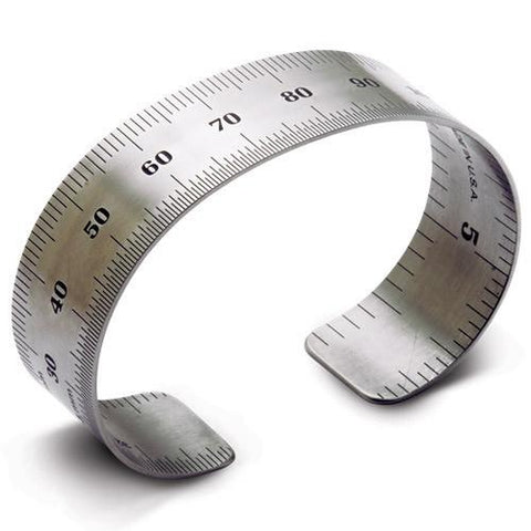 Metric ruler bracelet, stainless steel, 1.5 cm wide. High grade stainless steel.