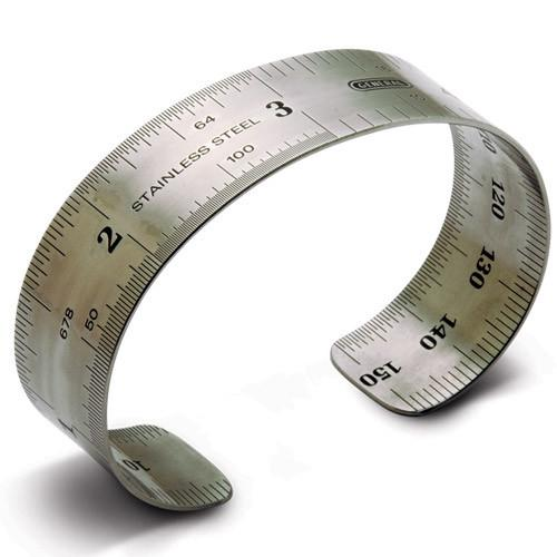 ruler bracelet, inches, 3/4 wide, high grade stainless steel.