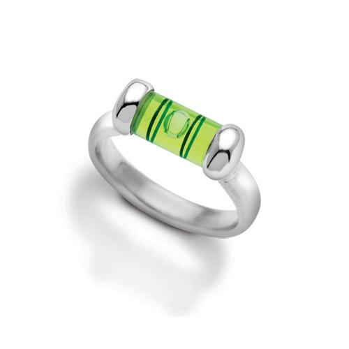 Level ring in sterling silver. Wonderfully proportioned. Sterling silver with a bright green level.