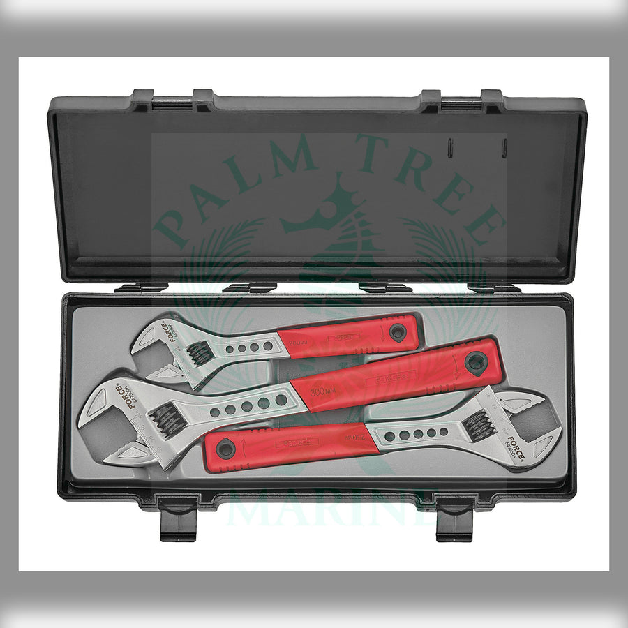 Adjustable gauged wrench set 3pc