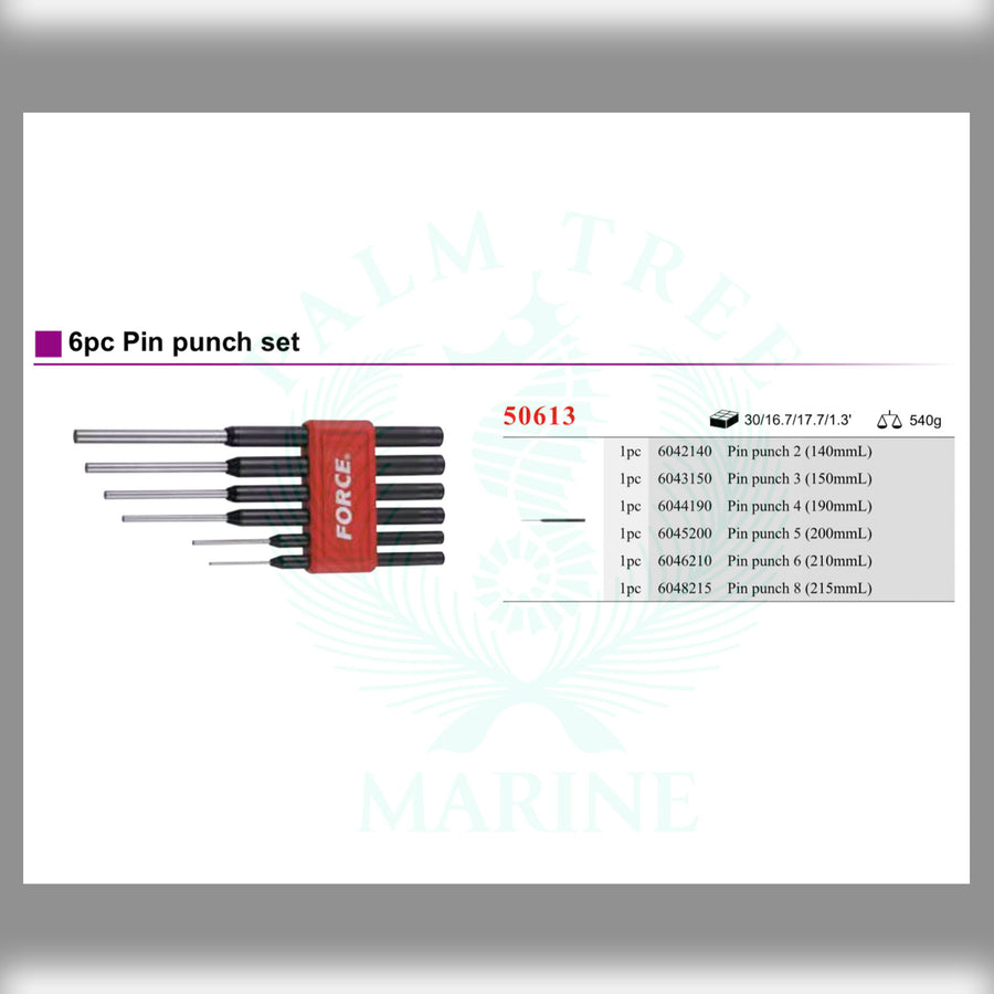 Pin punch set 6pc