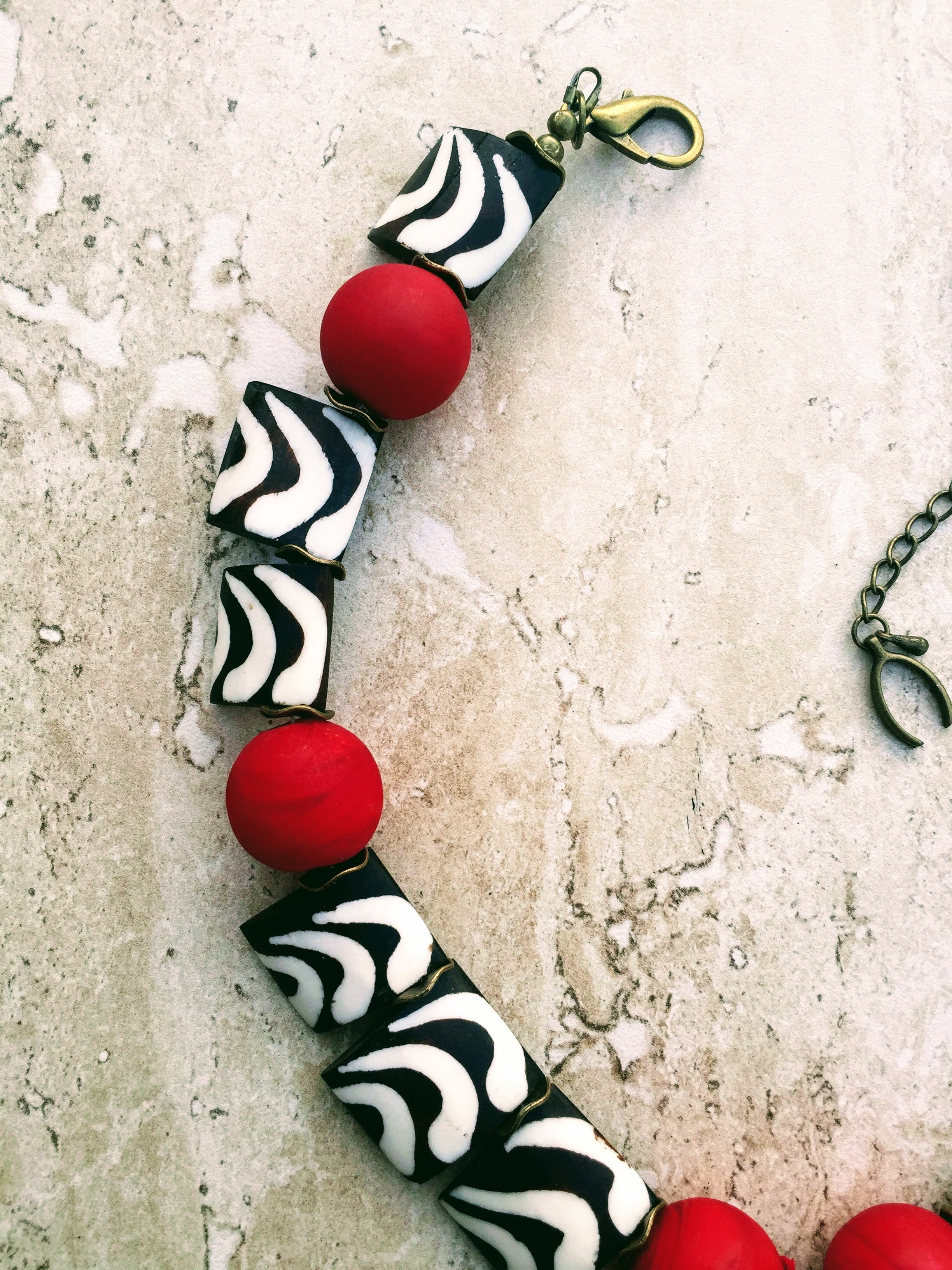 real pendant white tribal heart trade square products ebony batik african beads bone necklace red black