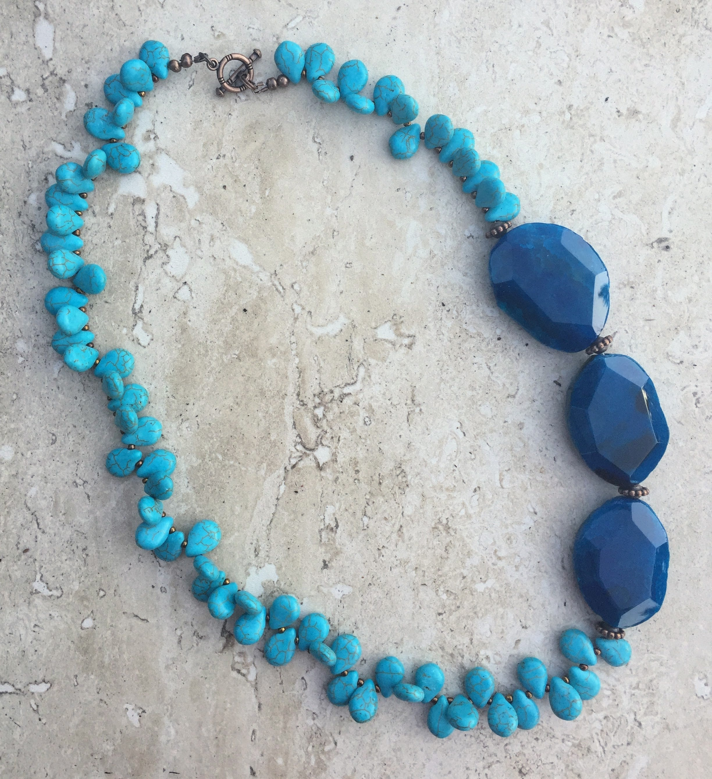 Blue Howlite Copper Bronze Tone Necklace Earring SET HANDCRAFTED Artisan Made #NBHB001