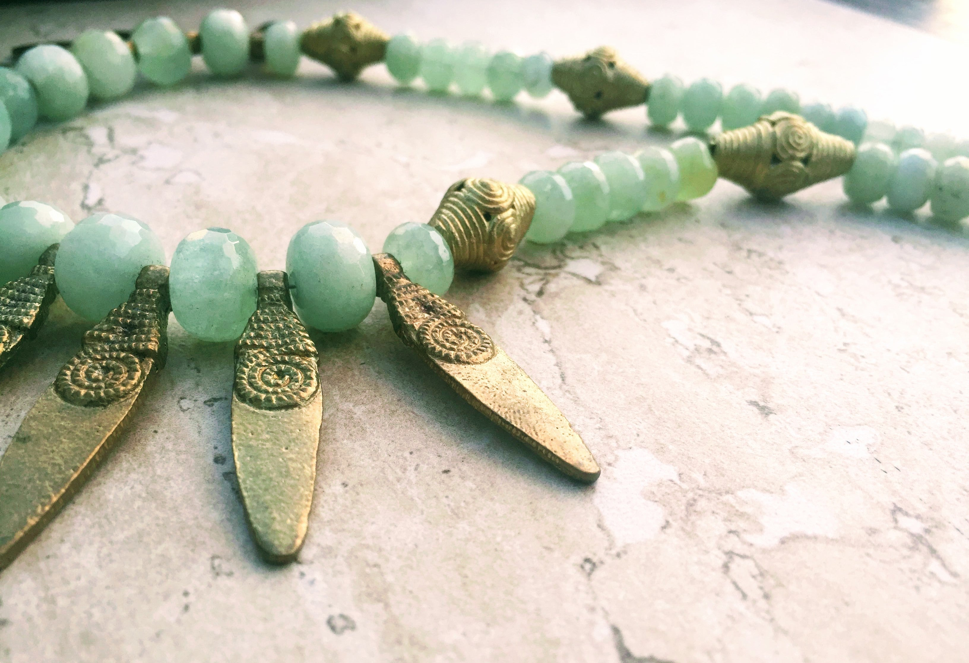 Lovely Mothers Day Gift For Mom, Aquamarine Necklace, Folk Art Gold  PF59