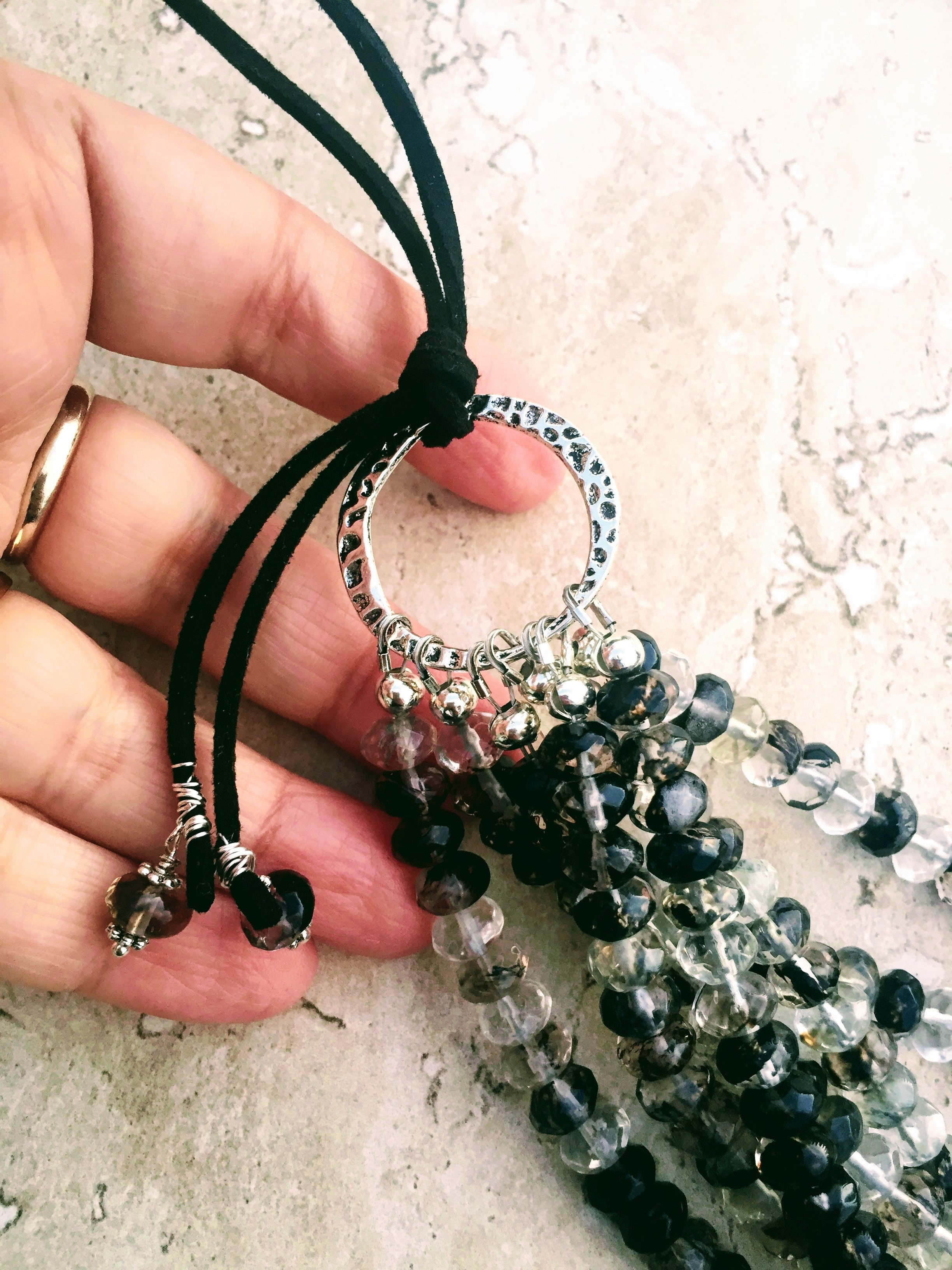 gray agate pendant necklace Smoky quartz office wear neutral colors large silver beads adjustable necklace bold necklace