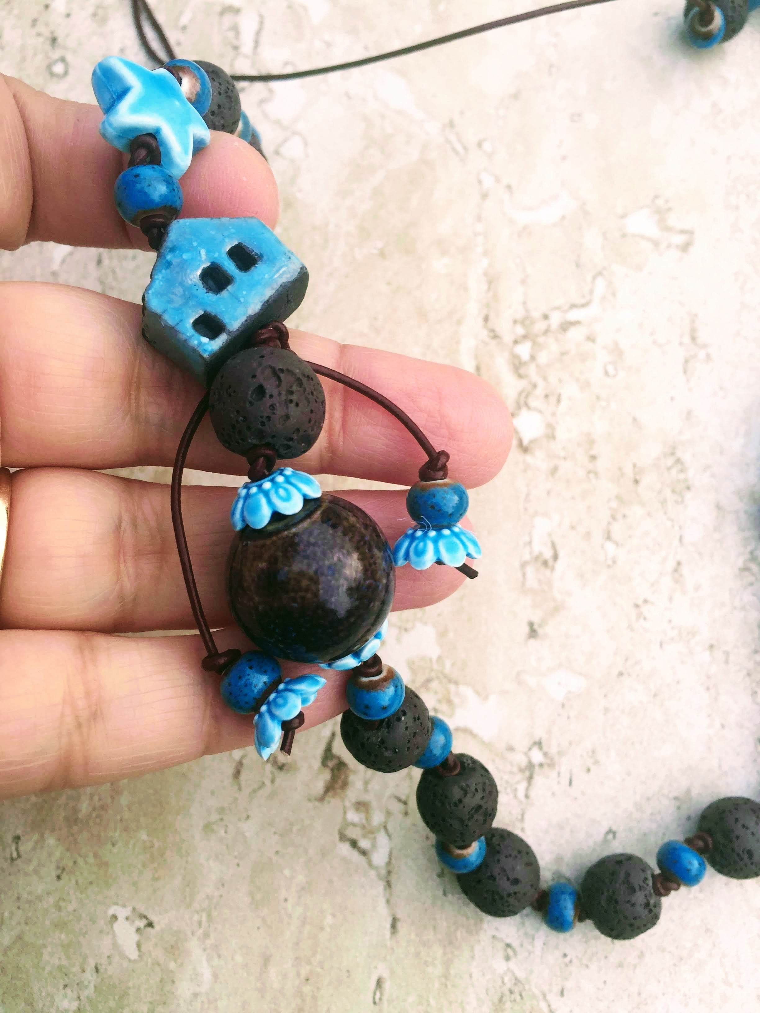 Whimsical Tiny House Necklace, Lava Stone Necklace, Ceramic Necklace, Blue  Doll House