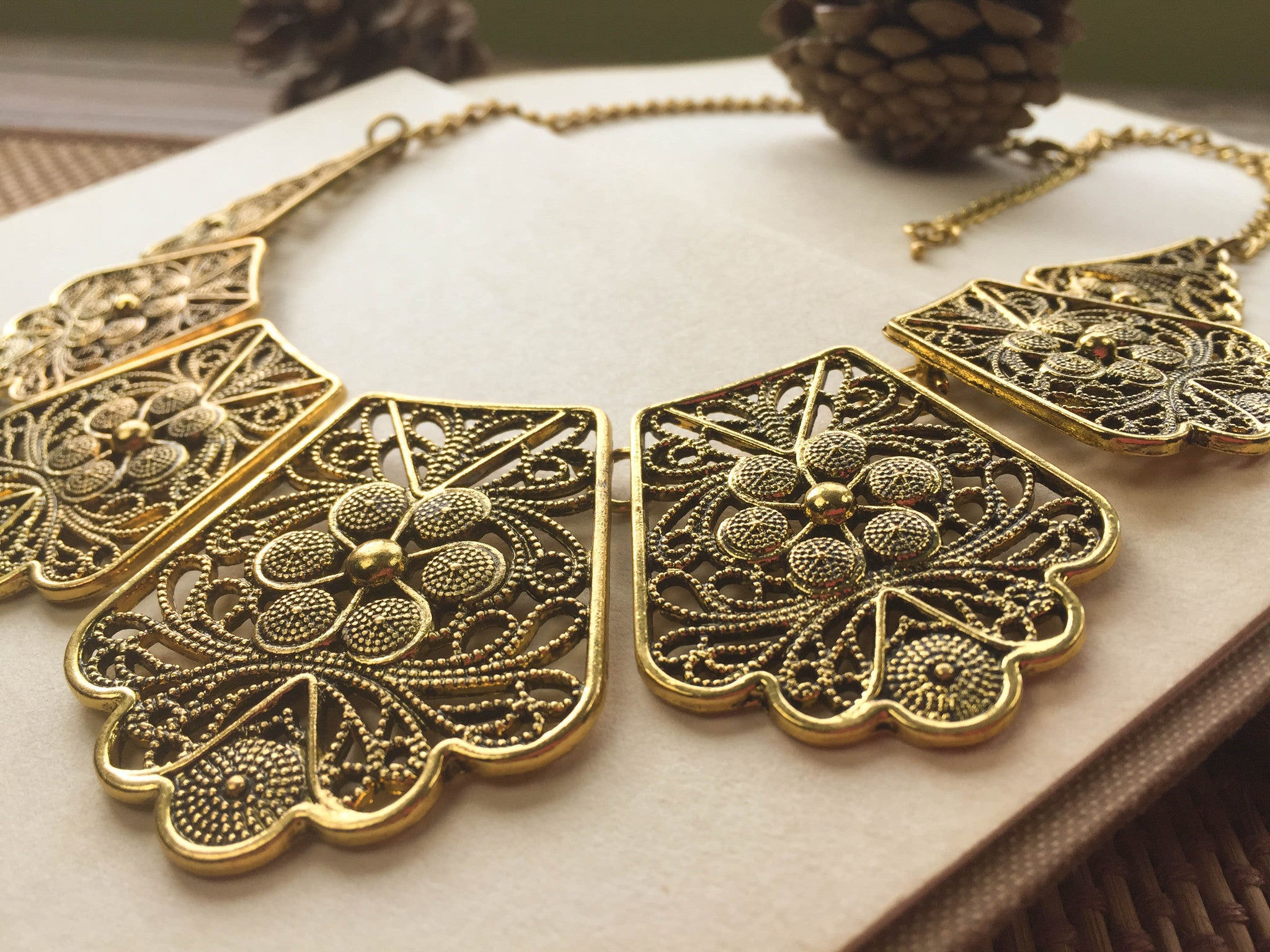 products deco necklace link vintage gold chain art
