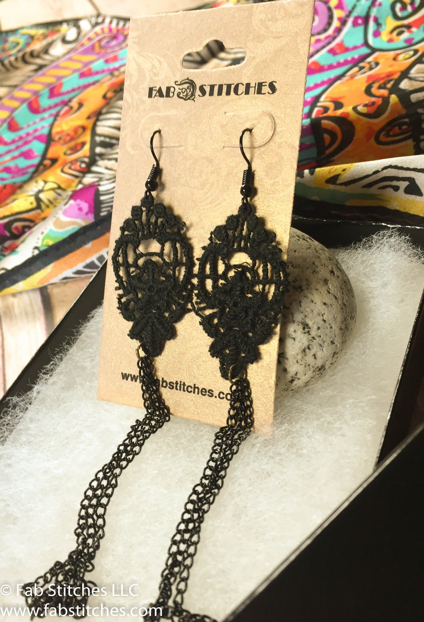 Cat Lover gift, Cats Silk Art Inspired Scarf & Black Lace Earrings ...