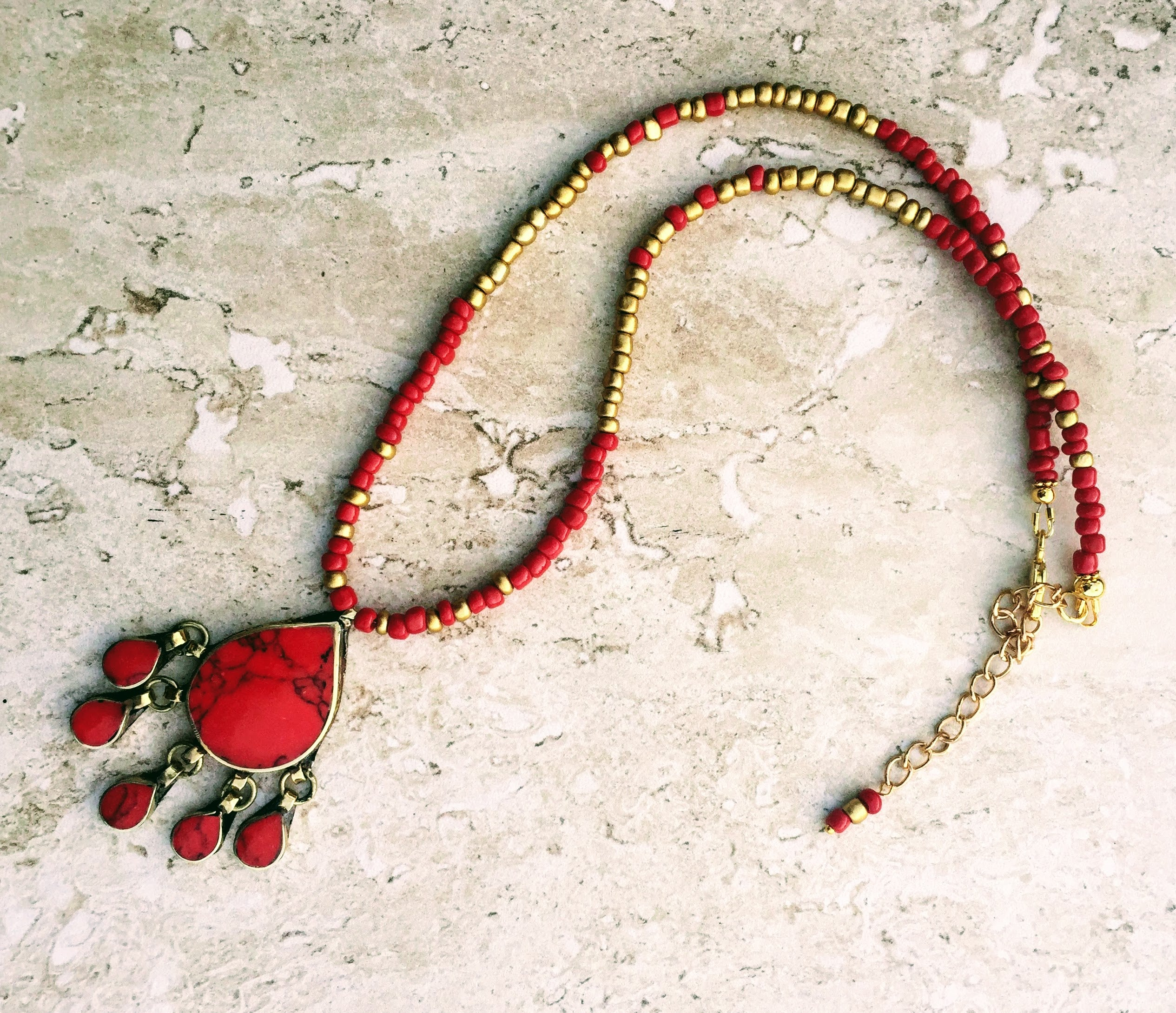Vintage Afghan Red Gold Necklace Dainty Delicate Coral