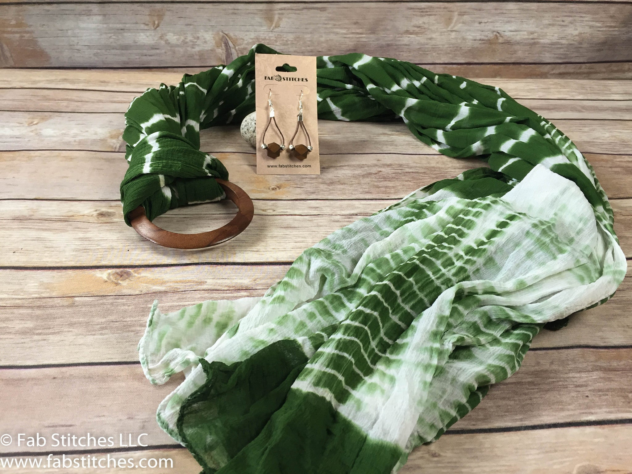 Long Olive Green Tie-Dye Soft Chiffon Scarf With Wood Ring And Wood Earrings